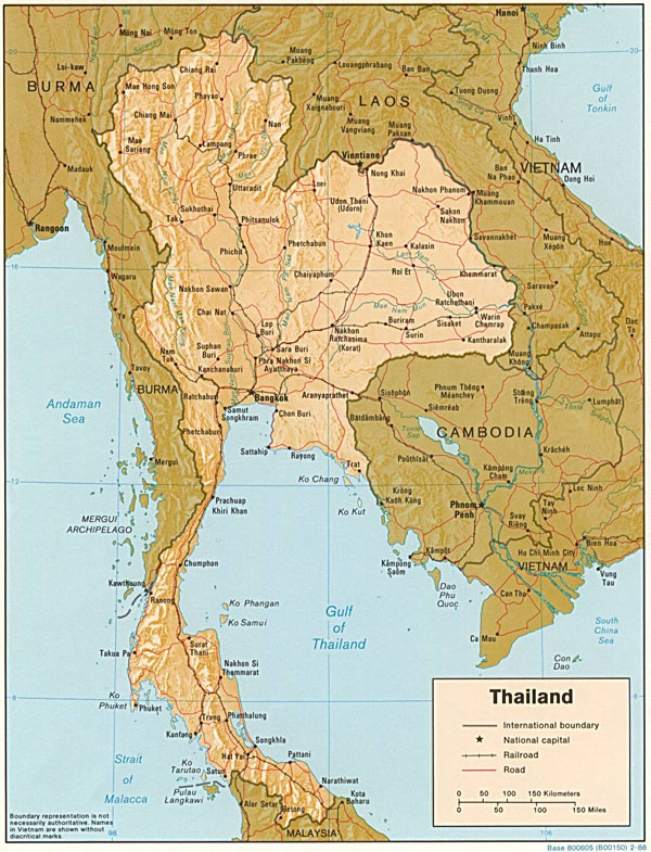 Detailed relief and political map of Thailand.