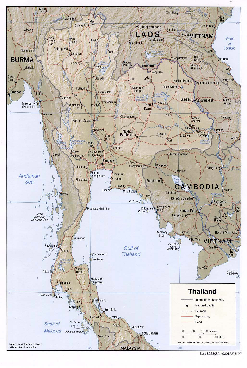 And road map of thailand thailand detailed relief and road map