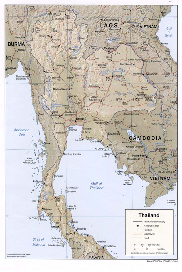 Detailed relief and road map of Thailand. Thailand detailed relief and road map.