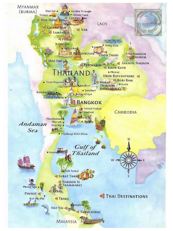 Detailed tourist map of Thailand. Thailand detailed tourist map.