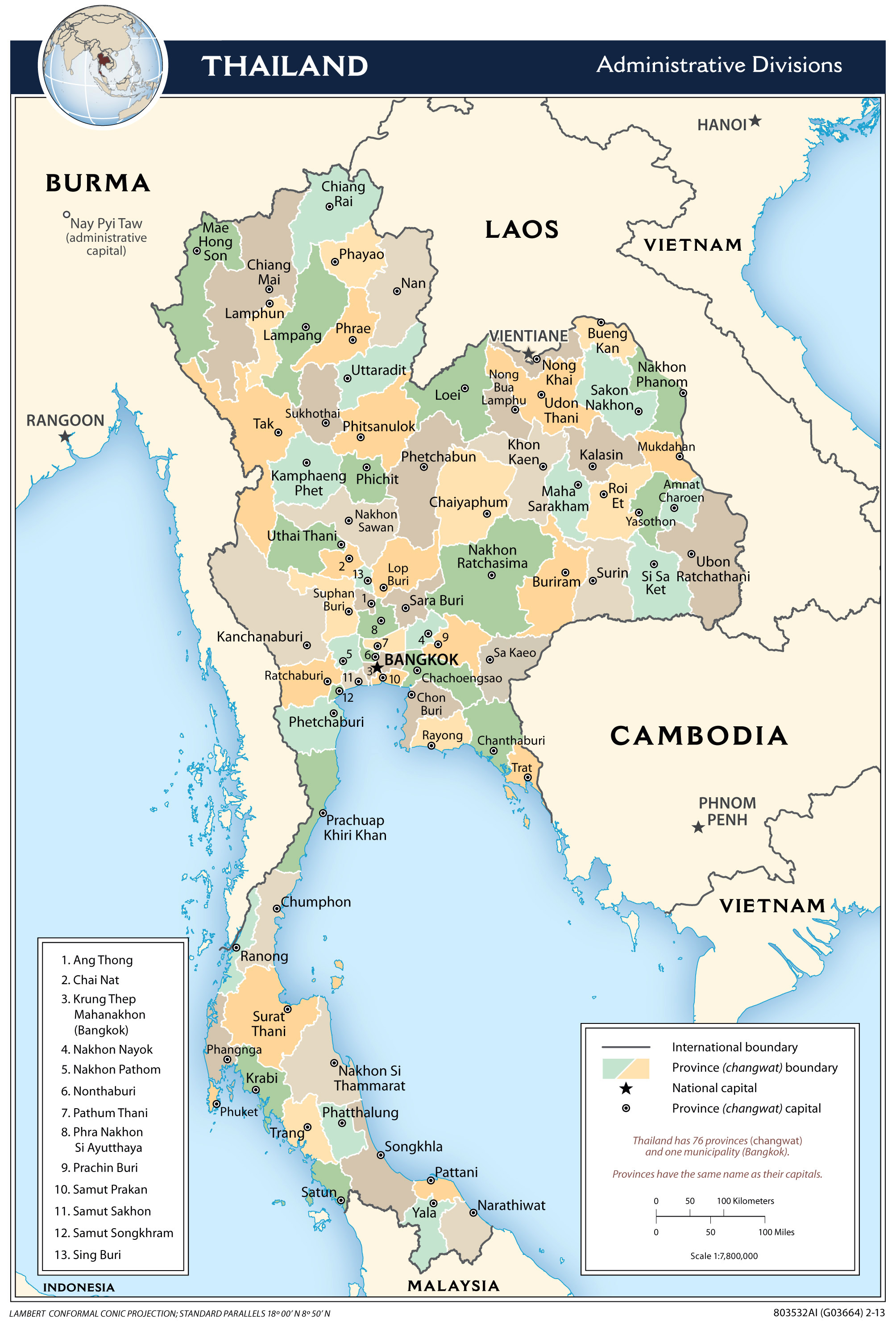 Large detailed administrative divisions map of Thailand ...
