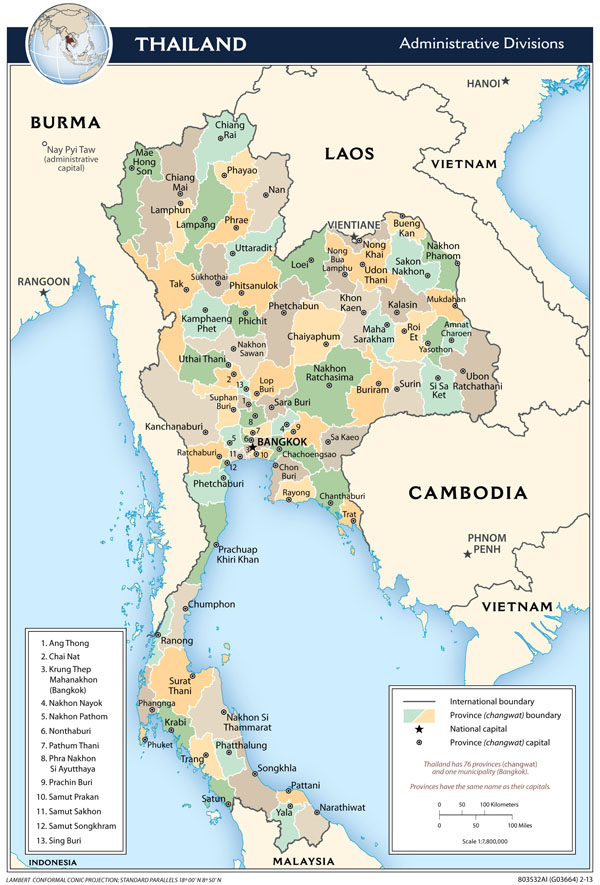 Large detailed administrative divisions map of Thailand - 2013.