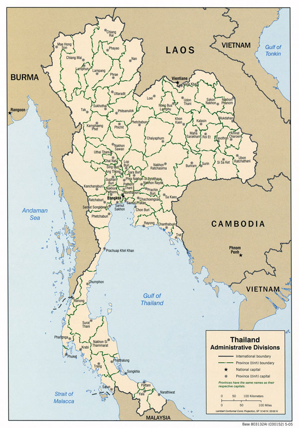 Large detailed administrative map of Thailand. Thailand large detailed administrative map.