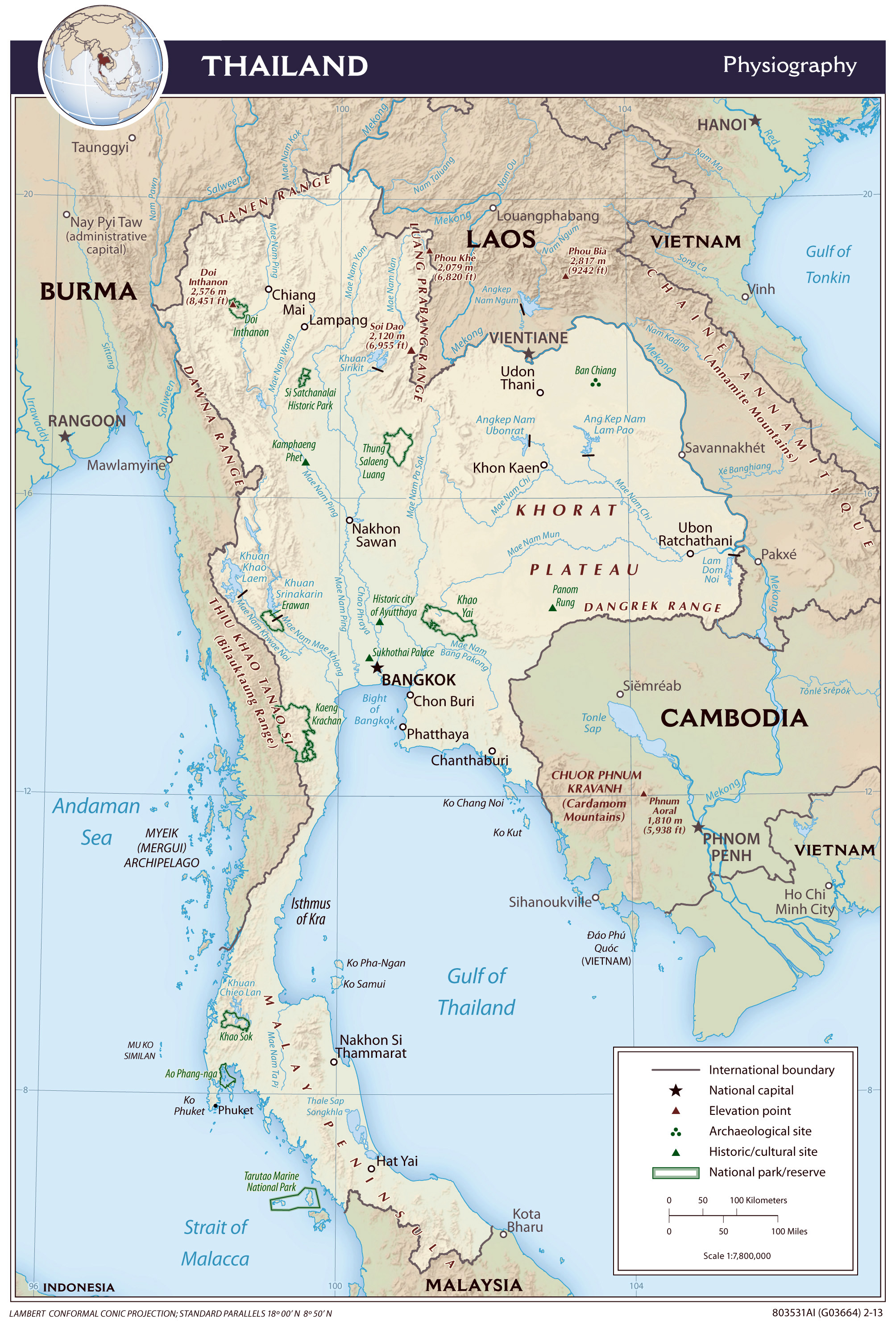 Large detailed physiography map of Thailand – 2013 ...