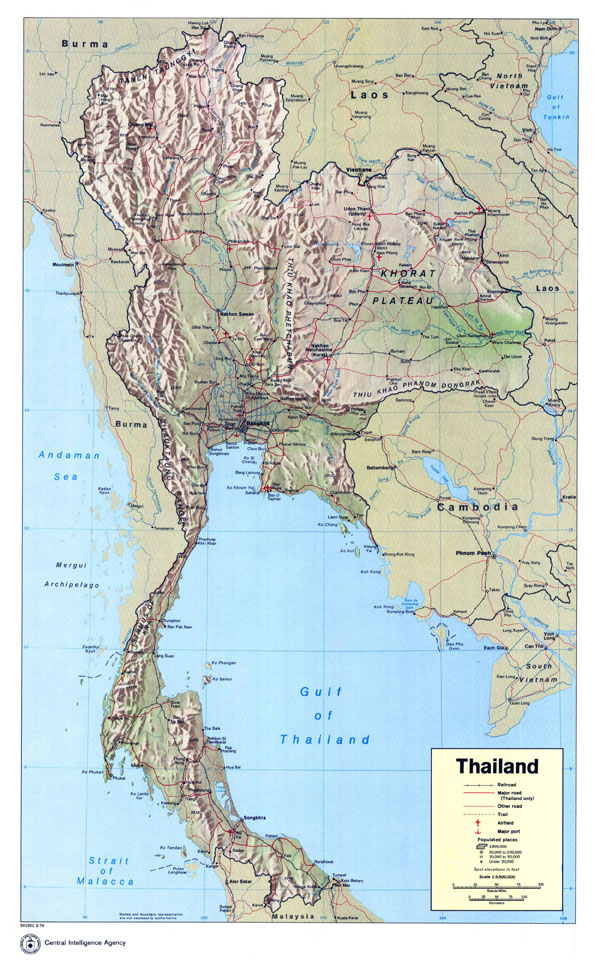 Large detailed political map of Thailand with relief, roads, cities, airfields and sea ports.