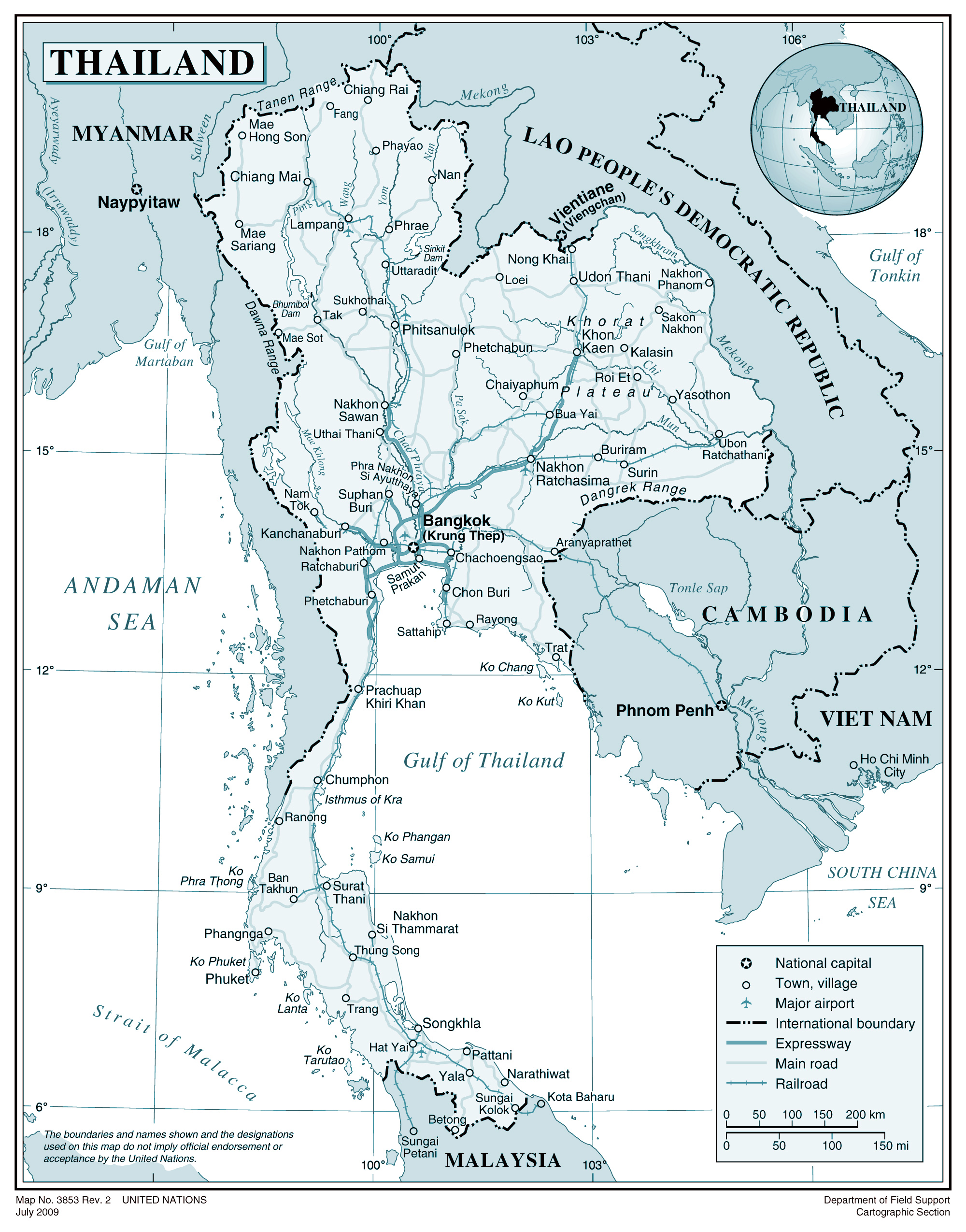 Large Detailed Political Map Of Thailand With Roads Cities And