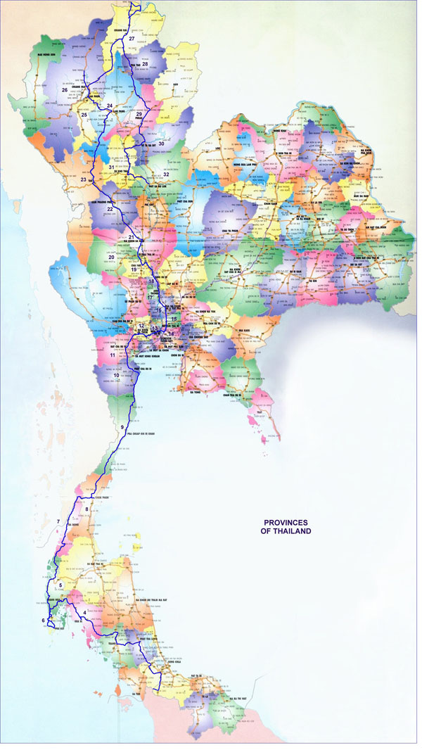 Large detailed road and administrative map of Thailand.