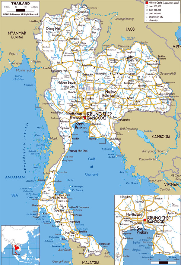 Large detailed road map of Thailand. Thailand large detailed road map.