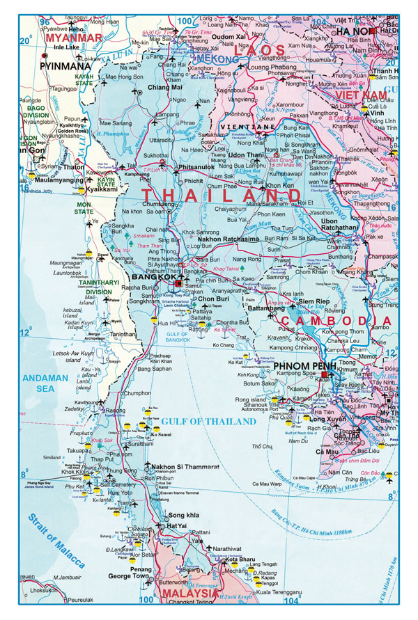 Large detailed roads map of Thailand. Thailand large detailed roads map.