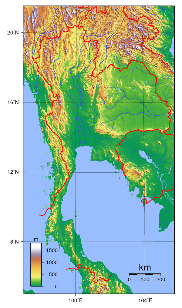 Large detailed topographical map of Thailand. Thailand large detailed topographical map.
