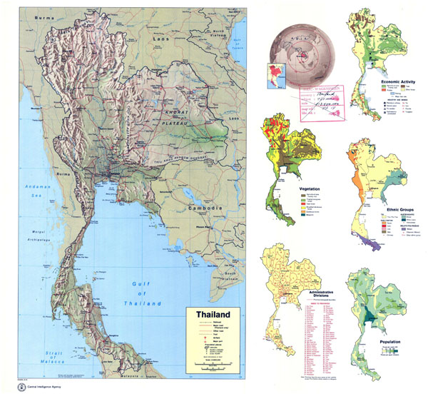 Large scale detailed country profile map of Thailand.