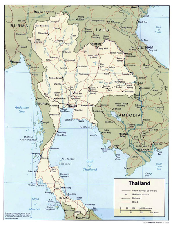 Political map of Thailand with roads and major cities.