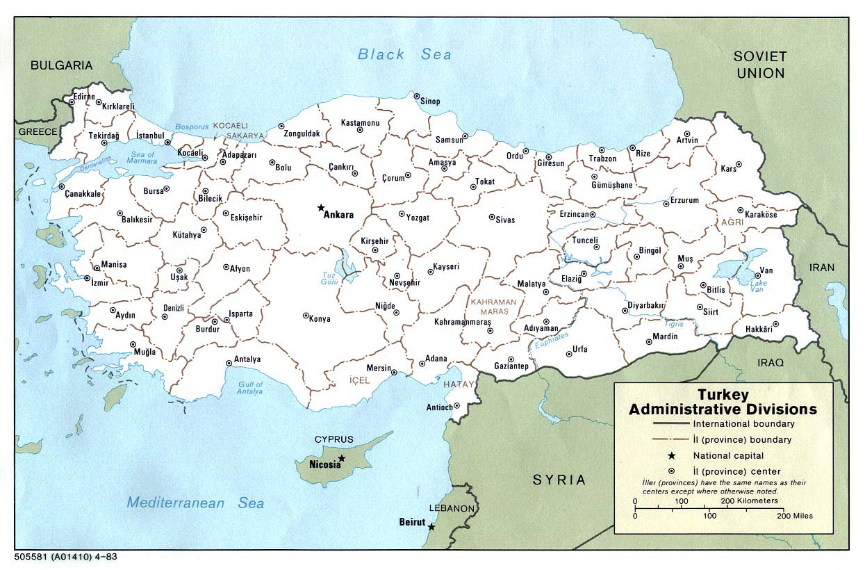 Detailed administrative divisions map of Turkey Vidianicom Maps