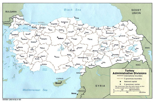 Detailed administrative divisions map of Turkey.