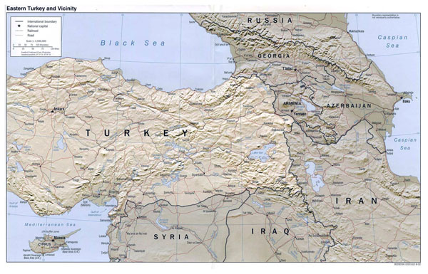 Detailed map of Eastern Turkey and Vicinity with relief.
