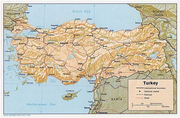 Detailed political map of Turkey with relief.