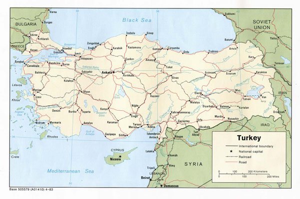 Detailed road and political map of Turkey. Turkey detailed road and political map.