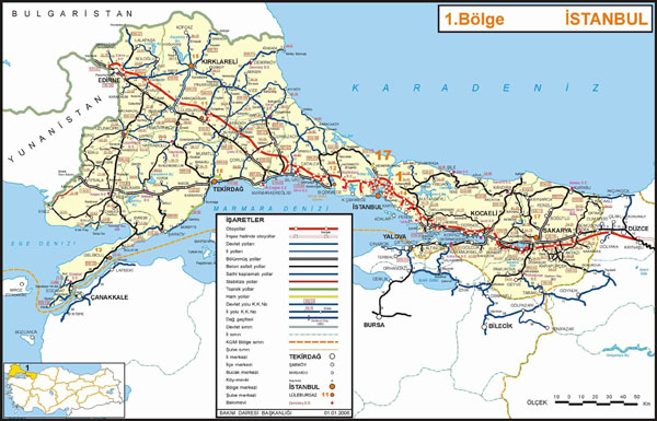 Detailed road map of Istanbul section of Turkey. Istanbul section of Turkey detailed road map.