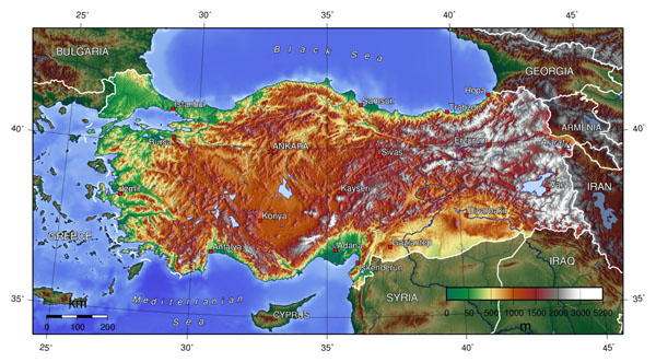 Detailed topographical map of Turkey. Turkey detailed topographical map.