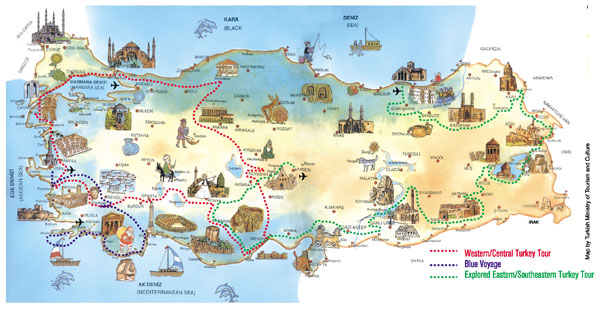 Detailed travel map of Turkey. Turkey detailed travel map.