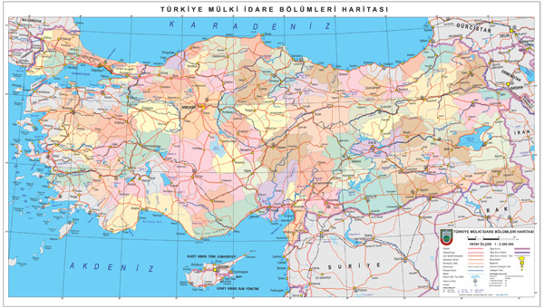 High resolution detailed administrative and road map of Turkey.