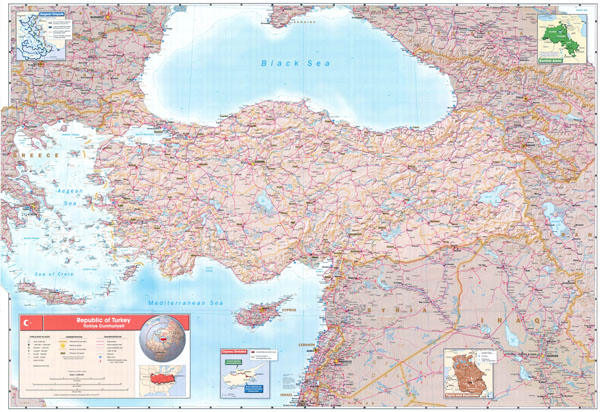High resolution detailed road and political map of Turkey.