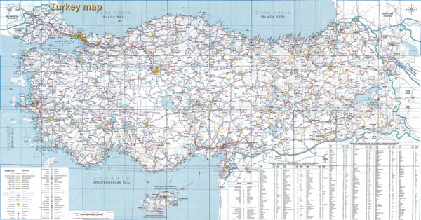 High resolution detailed road map of Turkey.
