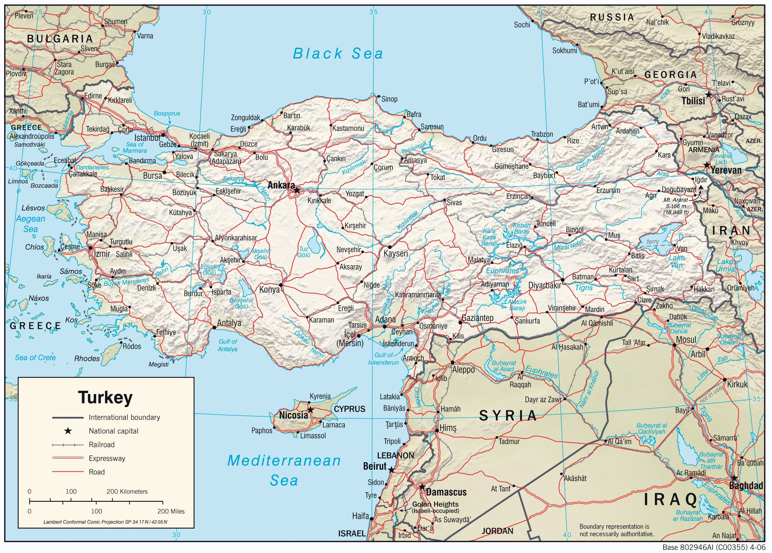 Image of: Large Detailed Physiography Map Of Turkey With Relief Roads And Major Cities Vidiani Com Maps Of All Countries In One Place