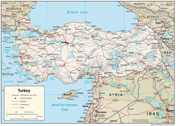 Large detailed physiography map of Turkey with relief, roads and major cities.