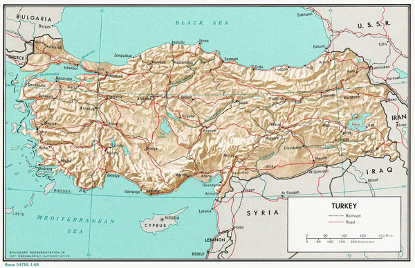 Large detailed relief and political map of Turkey.