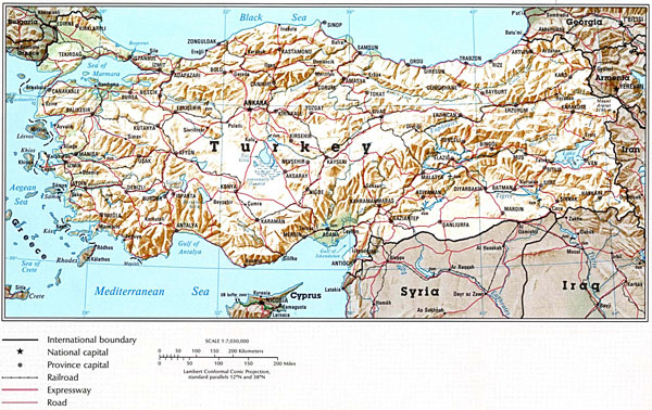 Large detailed relief and road map of Turkey.