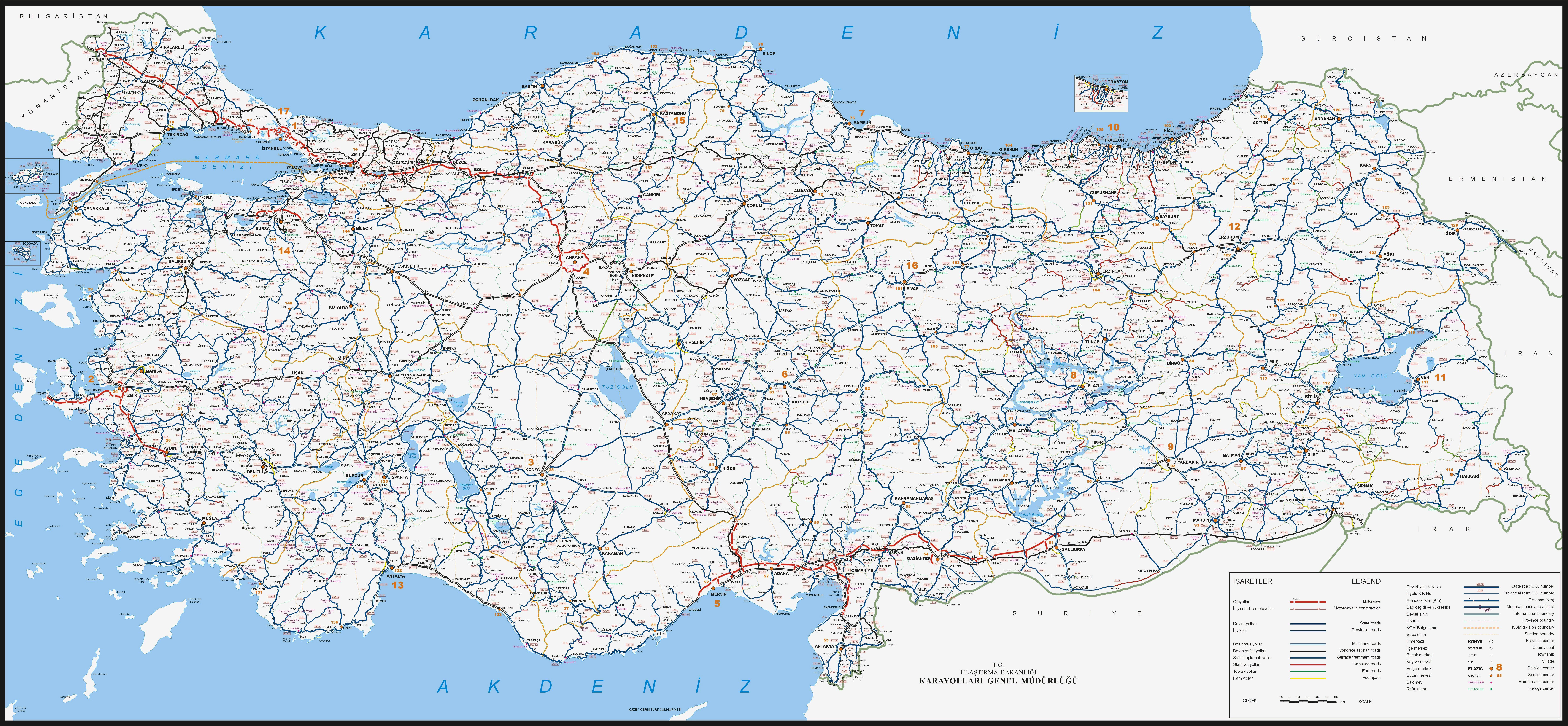 Large Scale Detailed Roads Map Of Turkey Turkey Large Scale - Large scale world map