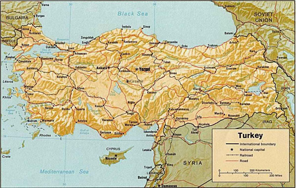 Relief map of Turkey. Turkey relief map.