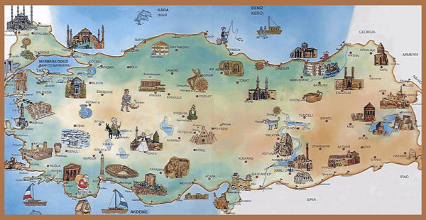 Tourist map of Turkey. Turkey tourist map.