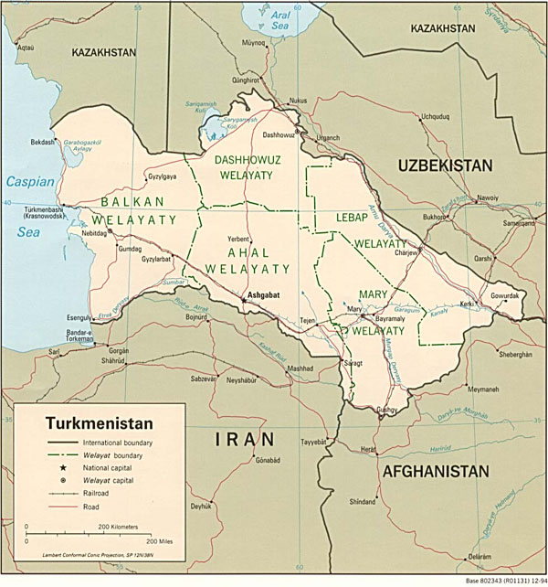 Detailed administrative and political map of Turkmenistan.