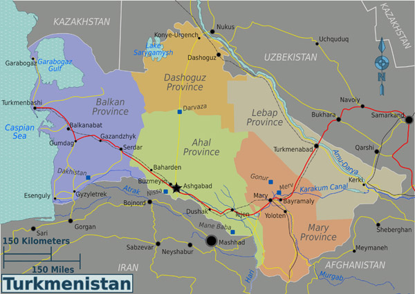 Large detailed administrative and road map of Turkmenistan.