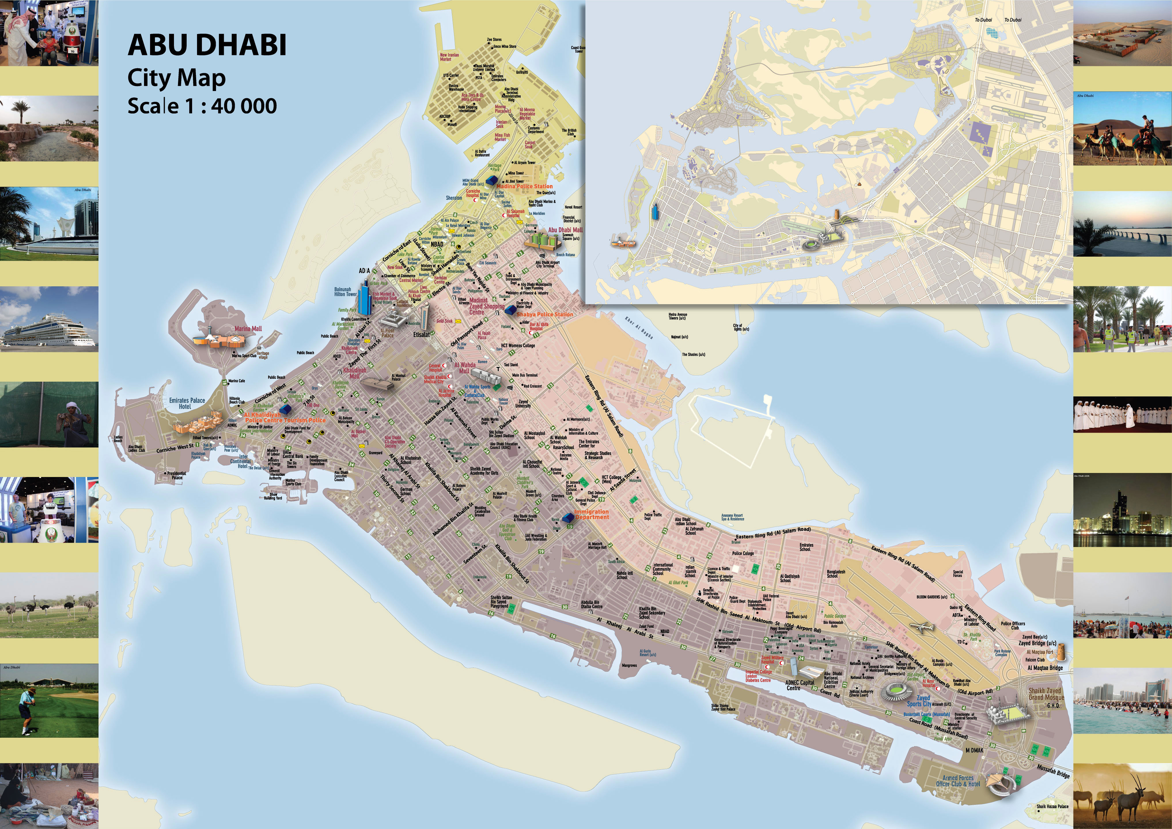 Large detailed map of Abu Dhabi city | Vidiani.com | Maps of all ...