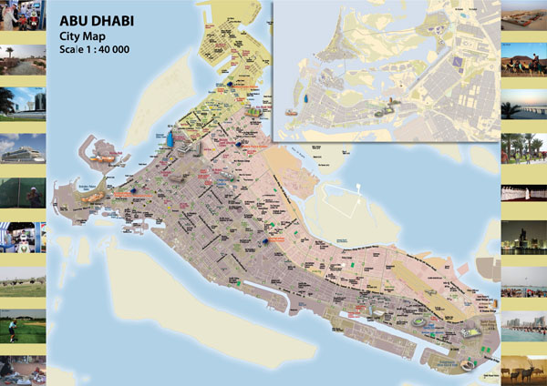 Large detailed map of Abu Dhabi city.