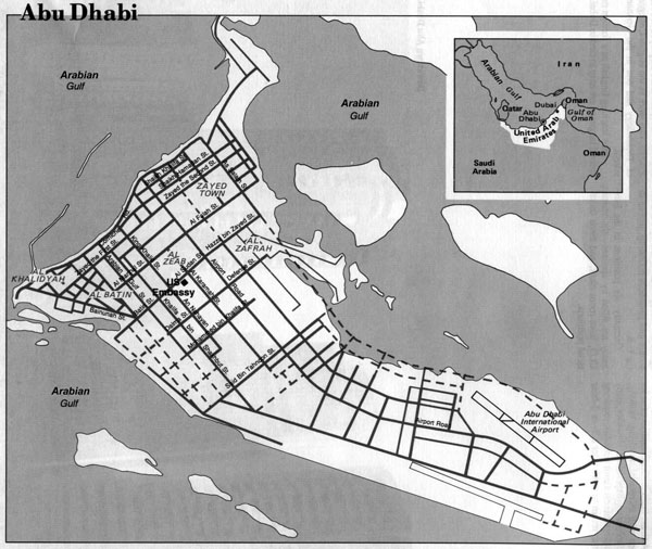 Large road map of Abu Dhabi city. Abu Dhabi large road map.