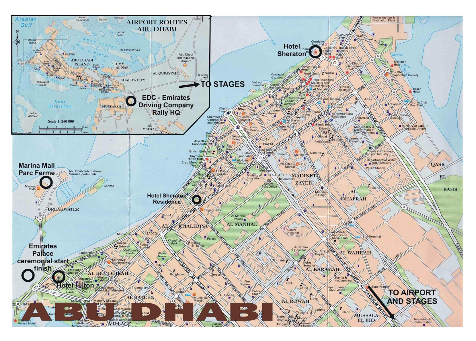 Large road map of central part of Abu Dhabi city Vidianicom