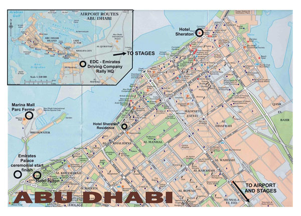 Large road map of central part of Abu Dhabi city (UAE).