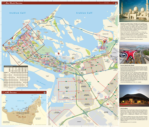 Large scale detailed tourist map of Abu Dhabi city.