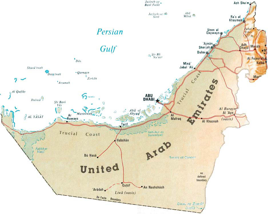 Detailed map of uae united arab emirates detailed map