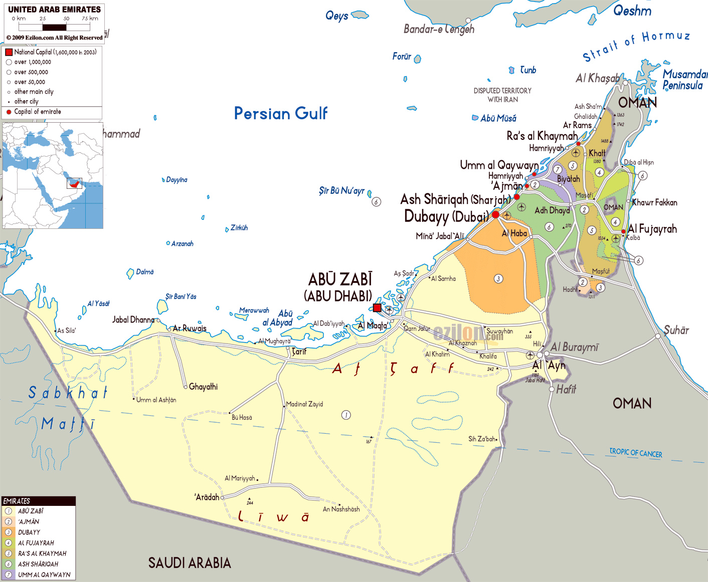 Detailed political and administrative map of UAE with roads cities