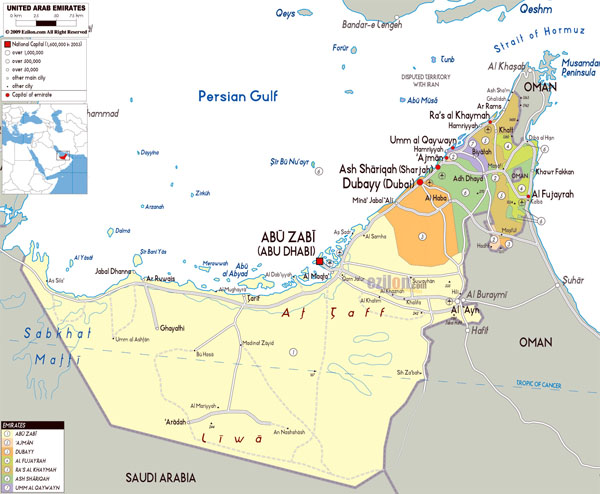 Detailed political and administrative map of UAE with roads, cities and airports.