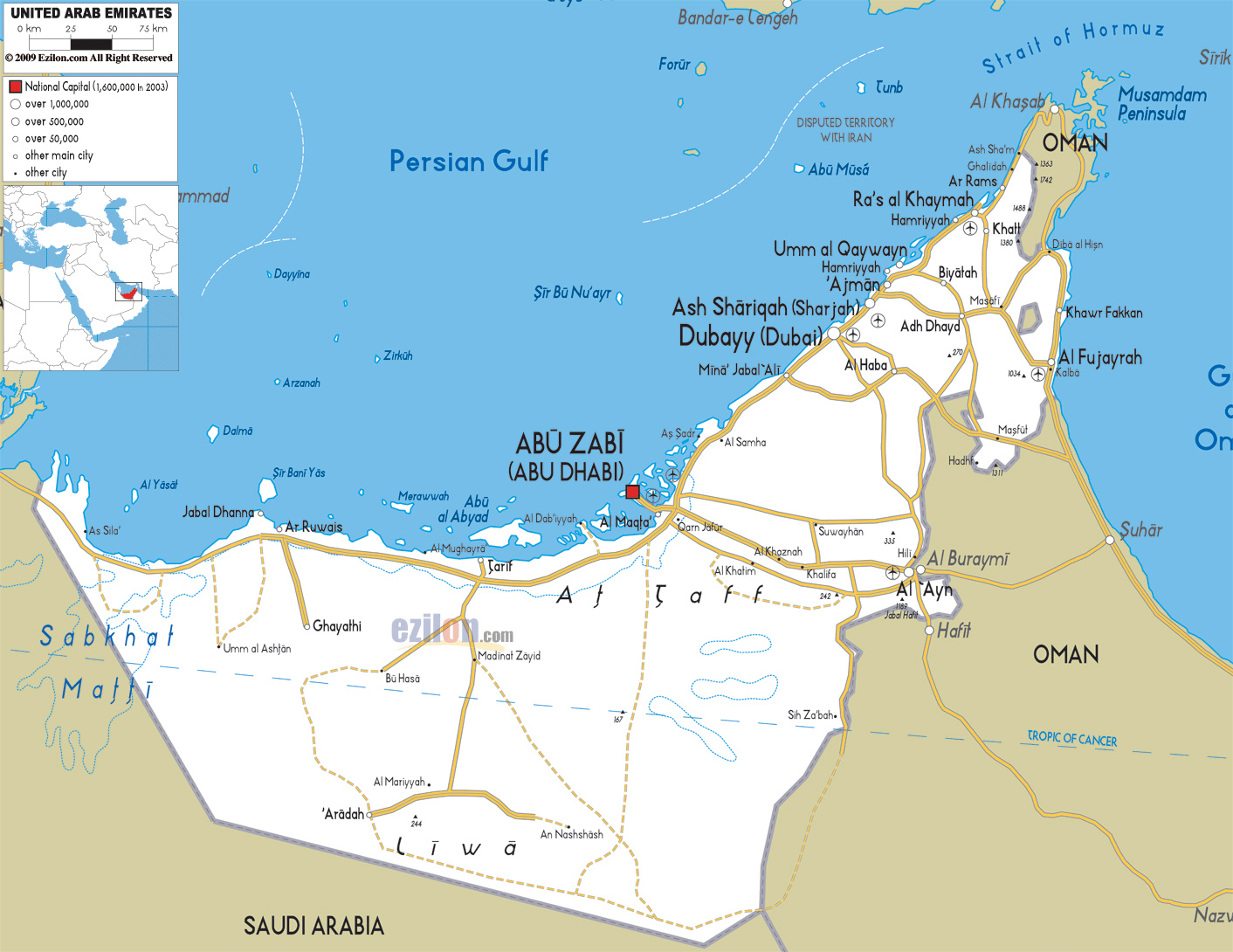 Detailed road and administrative map of UAE United Arab Emirates