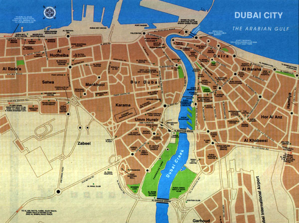 Detailed road map of Dubai city. Dubai city detailed road map.