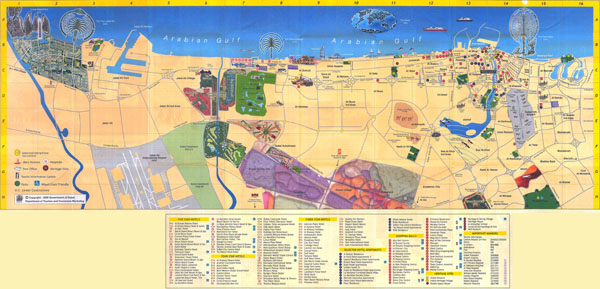 Large detailed hotels map of Dubai city. Dubai city large detailed hotels map.