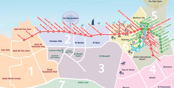 Large metro map of Dubai. Dubai large metro map.