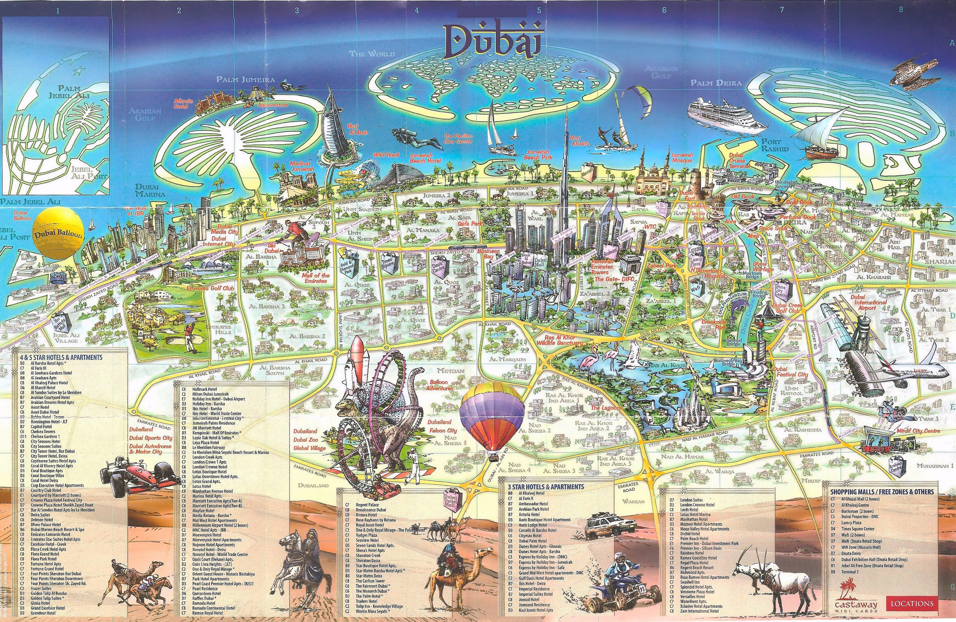 Large scale tourist map of Dubai Dubai